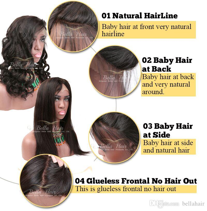 Top Grade 150% Density Lace Front Human Hair Lace Wigs BOB Straight Middle Part Natural Color Medium Cap with Combs Wigs