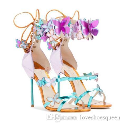 Plus la taille 34-42 printemps été nouveaux papillons colorés faits à la main charmante bride à la cheville 10CM talons sandales robe / pompes de mariage