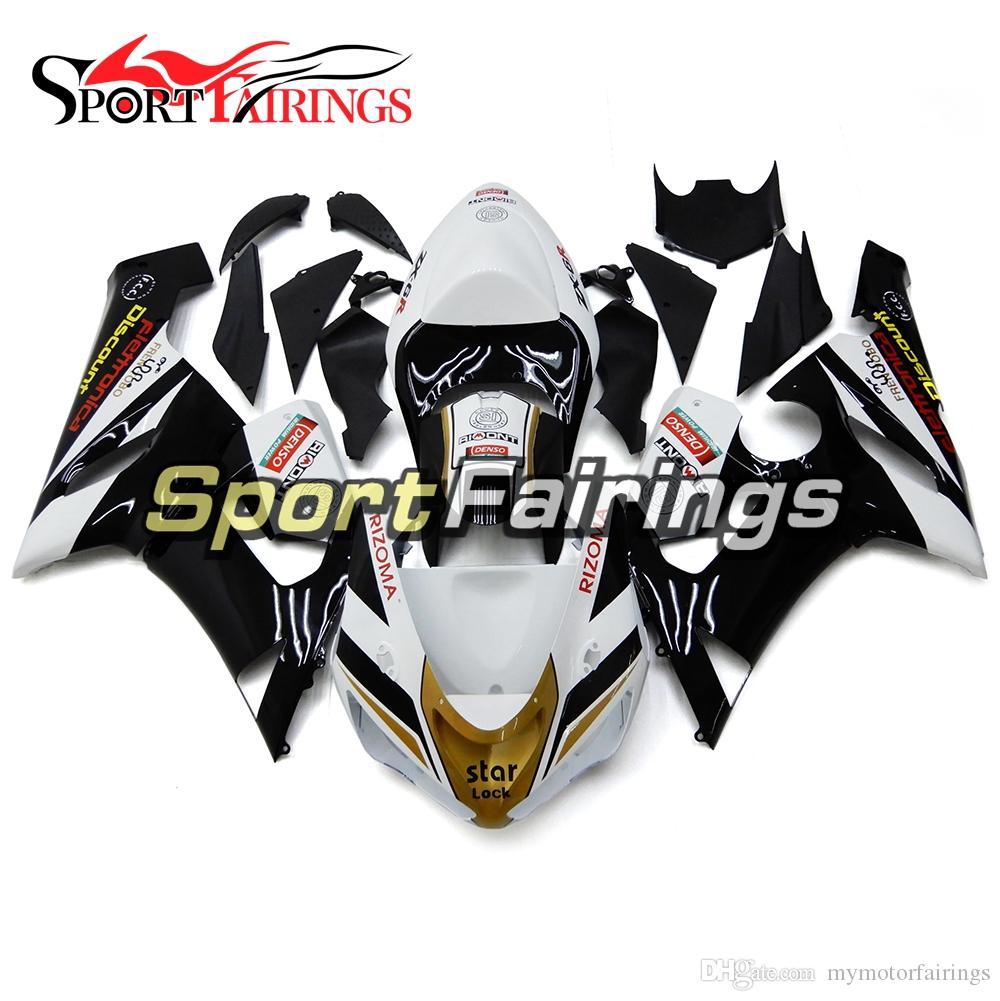 Gloss Black White Gold New Injection Fairings For Kawasaki Ninja 636 Zx 6r Zx6r 05 06 2005 2006 Sportbike Abs Motorcycle Fairing Kit Body Part