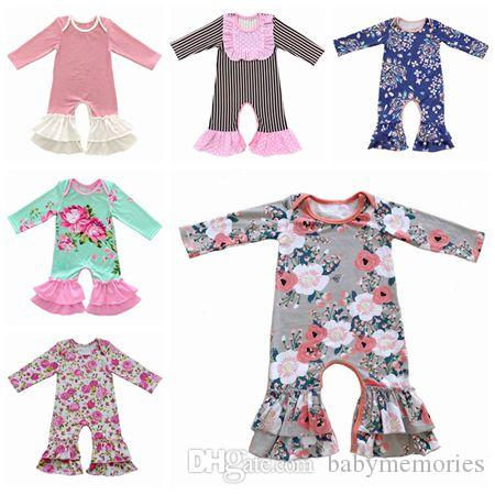 fall 2017 baby christmas pajamas one piece baby girl rompers floral jumpsuit baby romper long sleeve girls boutique clothing onesies clothes one piece