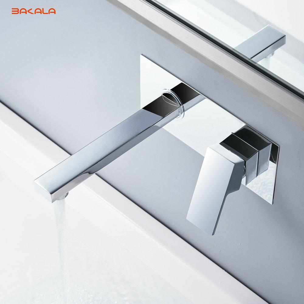 BAKALA Bathroom Basin Sink Faucet Wall Mounted Square Chrome Brass ...