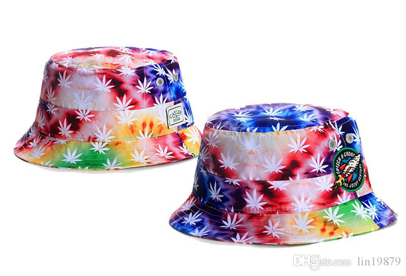 3371e1c2f47 2017 Cayler   Sons Leaf Bucket Hats Men 100% Cotton Fishing Hip Hop Sports  Sun Bob Caps Chapeu Fisherman Hat Wholesales Bucket Hats For Men Womens Hats  From ...
