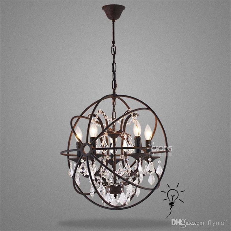 Country Hardware Vintage Orbe Cristal Lámpara de iluminación RH Rústico Hierro Candle Lámparas Luz Globo LED Lámpara Colgante Decoración para el hogar
