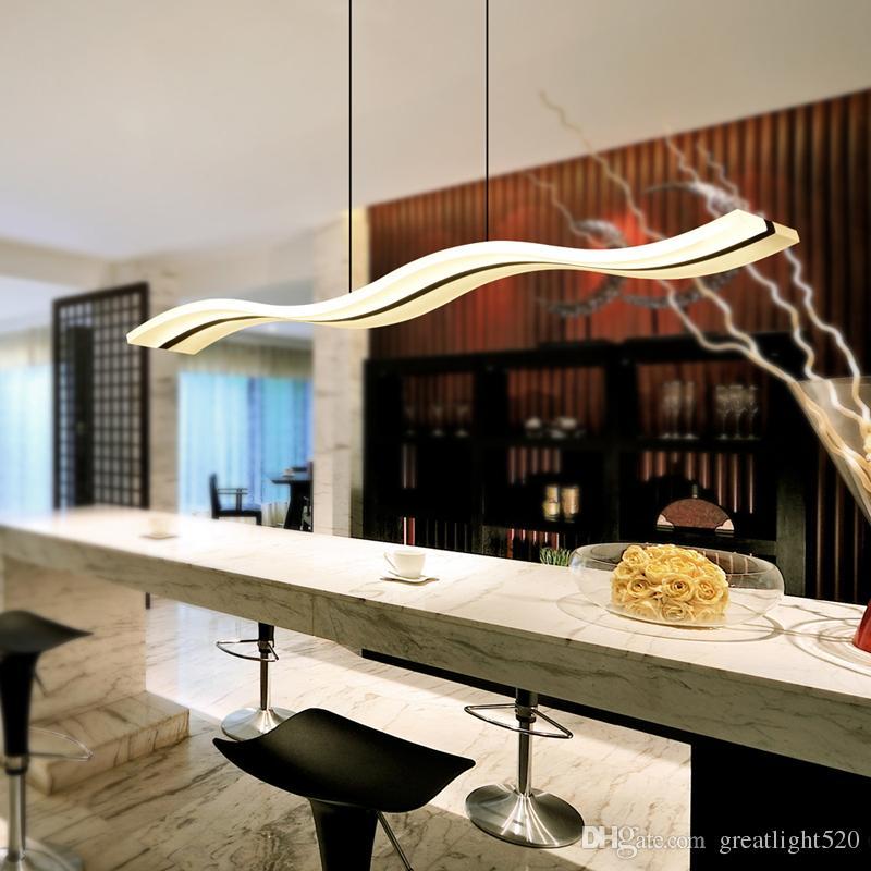 38 W Modern Kolye Lamba LED Çip Dalga Akrilik Avize LED Kemer Aydınlatma Yapışmalı Damla Işık LED Aydınlatma Süspansiyon Işıkları