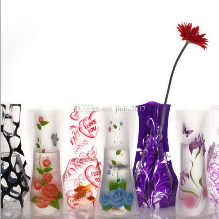 12*27cm Creative Clear Eco-friendly Foldable Folding Flower PVC Vase Unbreakable Reusable Home Wedding Party Decoration DHL