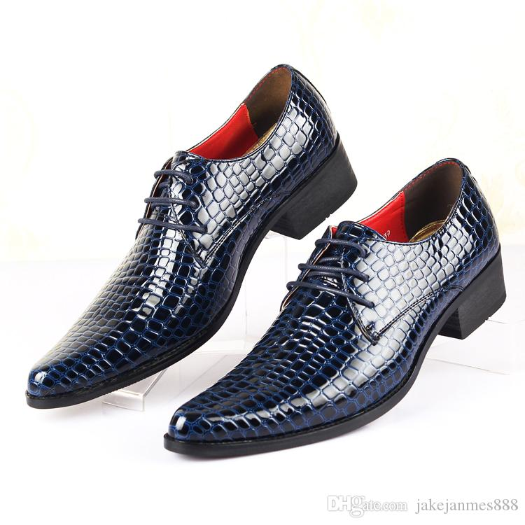 Men's 100% Genuine Leather Snake skin Brand New Men's Red Dress Shoes Pointed Toe Fashion Luxury Wedding Shoes Oxford Men Shoe