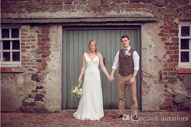2019 Çiftlik Düğün Kahverengi Balıksırtı Yün Tüvit Yelekler Custom Made Damat Suit Yelek Erkekler Için Ince Düğün Yelek Artı Boyutu Smokin Yelek Erkekler