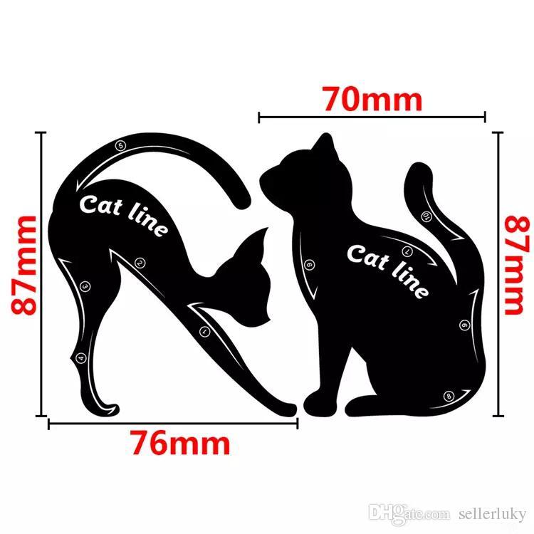 Más reciente Cat Line Cat Eyeliner Stencil Cat Line Material de PVC Uso repetible Plantilla de delineador de ojos Placa DHL envío gratis