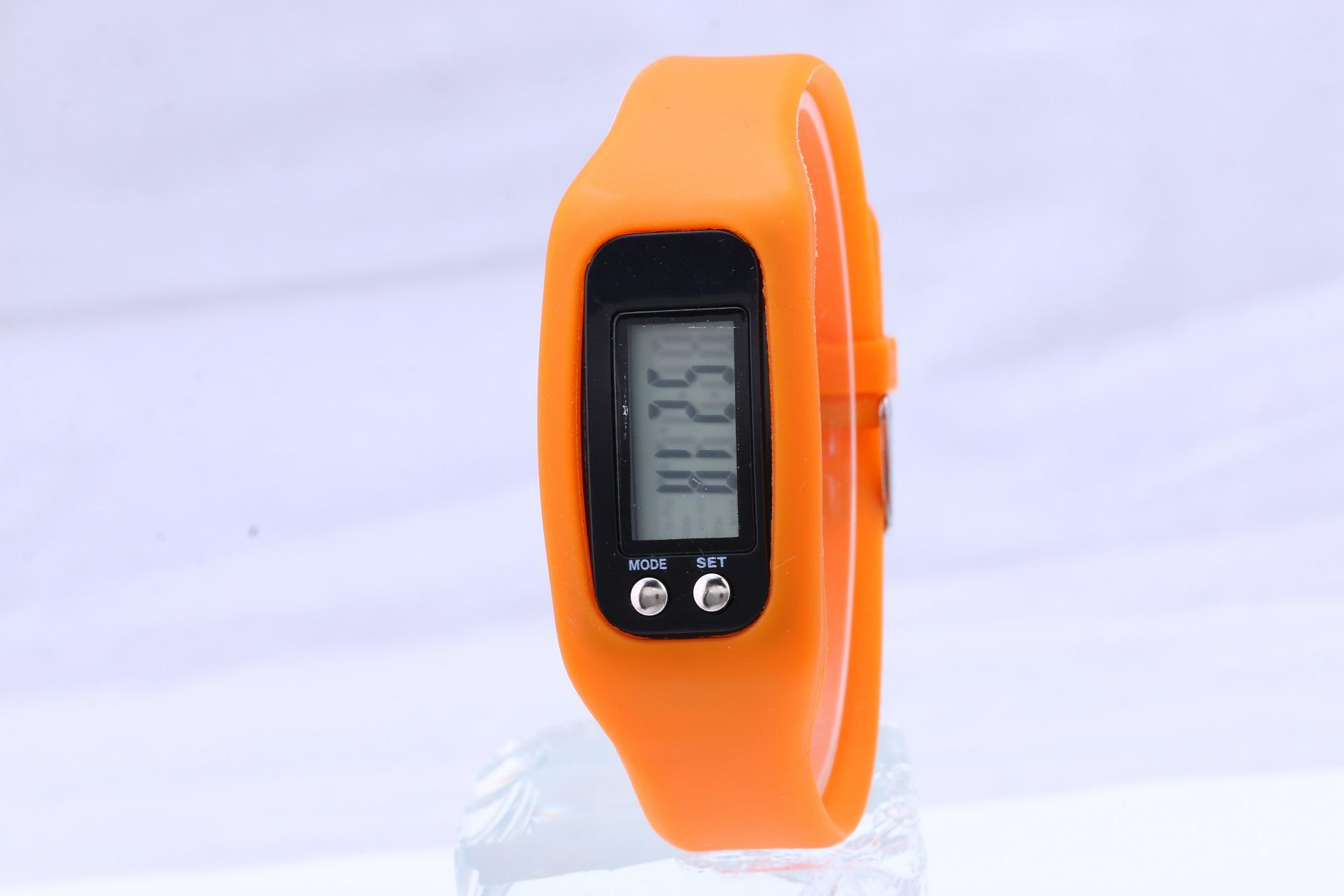 100 unids / lote Mix moda Digital LCD podómetro Paso de paso Distancia de calorías Contador de reloj pulsera LED Podómetro Relojes LT021