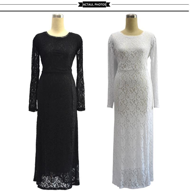 Vestito da donna elegante in pizzo a maniche lunghe di grandi dimensioni Elegante Moda Plus Size Abiti maxi 2017 Nuovo abbigliamento da festa estivo Donna più grande
