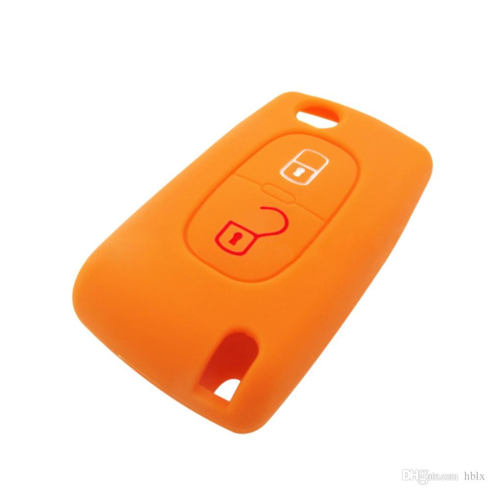 Wih Emblems Funda de silicona Cubierta remota 2 botones Llave plegable para Peugeot 208 207 3008 308 RCZ 408 2008 407 307 AUP_40J