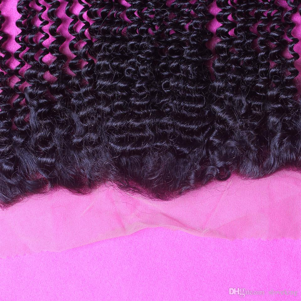 13x4 Lace Frontal Closure Brazilian Virgin Hair Kinky Curly Lace Frontal Closure Free/Middle/Three Part Slove Hair Products