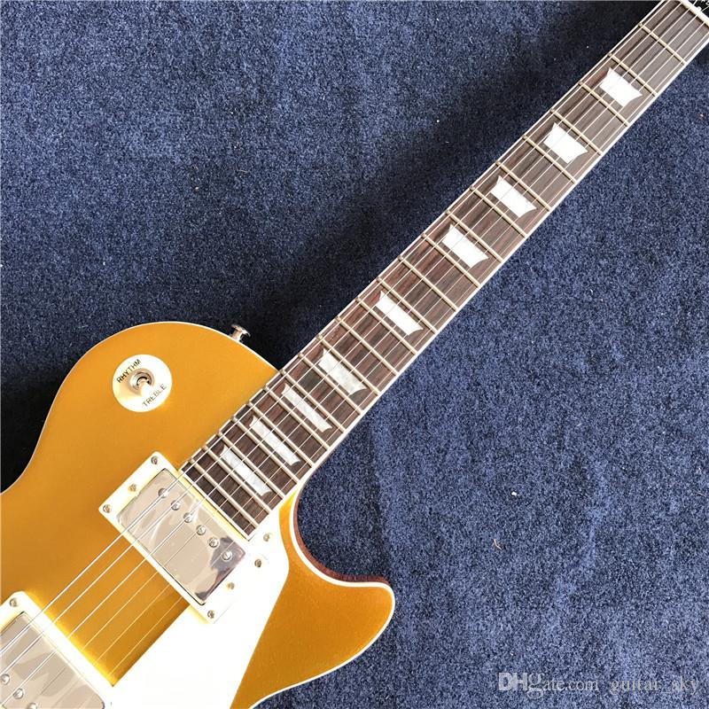 Yeni Çin fabrika Elektro gitar standart, krem pickguard ile altın top, krom donanım,. Gerçek fotoğraf gösterileri