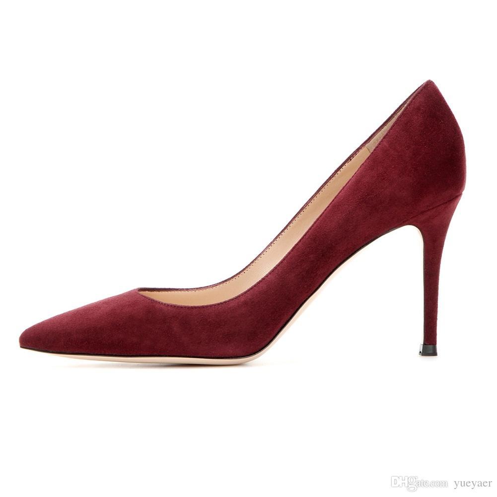 Zandina Ladies Handmade Fashion Slip On 85mm Pointy Basic Office Party Prom High Heel Pumps Shoes Dark Red