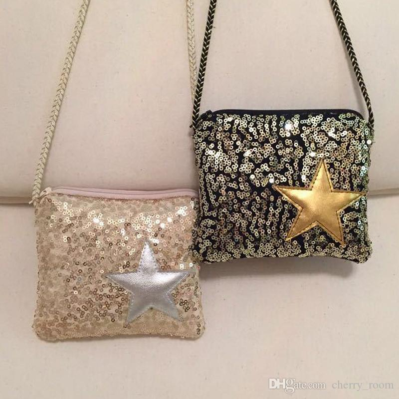 Fashion baby girls bags new korean sequin star children shoulder bags kids messenger bag cute Korean style fashion girl bag