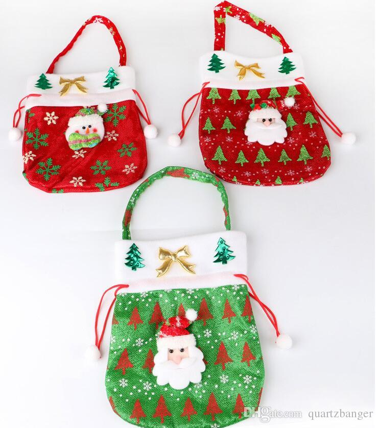 Joyeux Noël Décoration Santa Claus Enfants De Bonbons Exquis imprimer sac Sac Cordon Sac Jouet Home Party Decor Cadeau Pour Enfants 20 * 23 cm