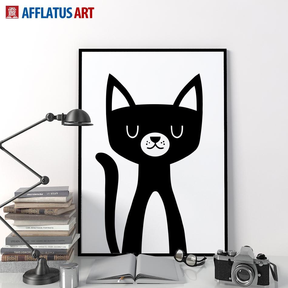 Cat Wall Art 2017 nordic modern minimalism black cat wall art prints poster