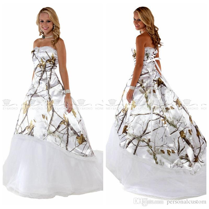 Discount White Real Tree Camo Wedding Dresses 2017 New Camouflage Bridal Gowns Custom Online Lace Up Back Vestidos De Novia Cheap Plus Size Pakistani