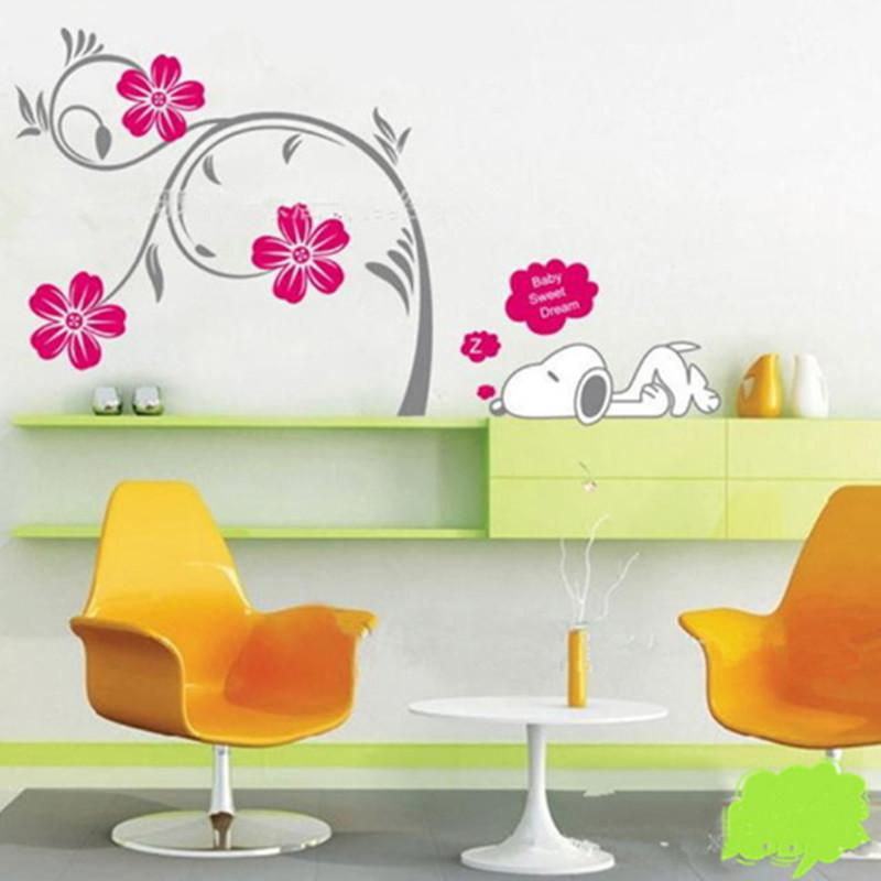 Snoopy Dog Wall Sticker Kid Living Room Bedroom Decor Mural Art ...