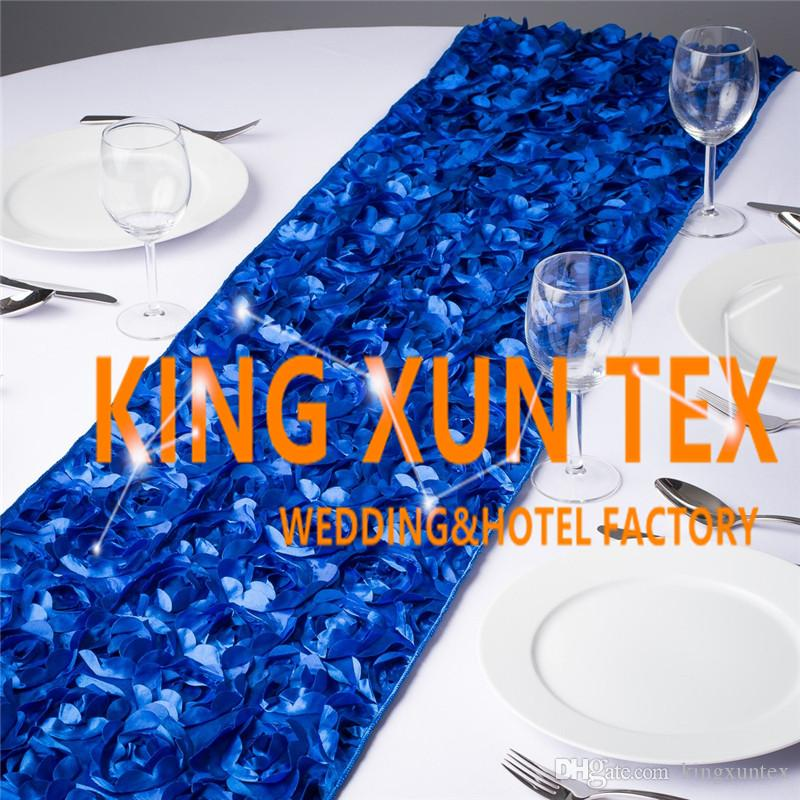 Nice Looking Satin Rosette Fabric Table Runner Fit On Table Cloth For Wedding And Event Decoration