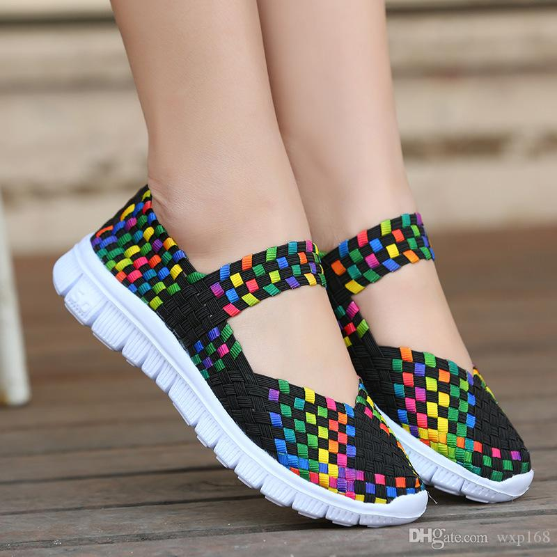 56745219e9 Flats Plus Size 42 Womens Weave Sneakers Shoes Spring Summer Mixed ...