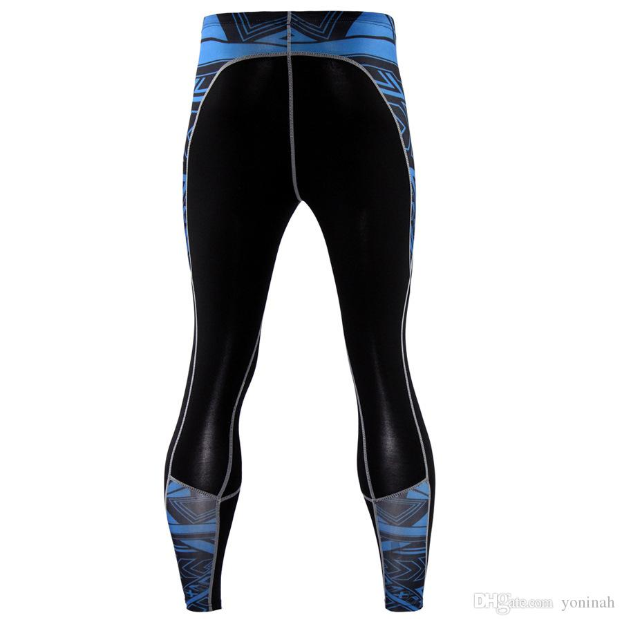 Kompressionshose der Männer reine Farbe lange Leggings Rashguard Bodybuilding atmungsaktive schnell trocknende Elastizität Jogger Hosen Sporthose