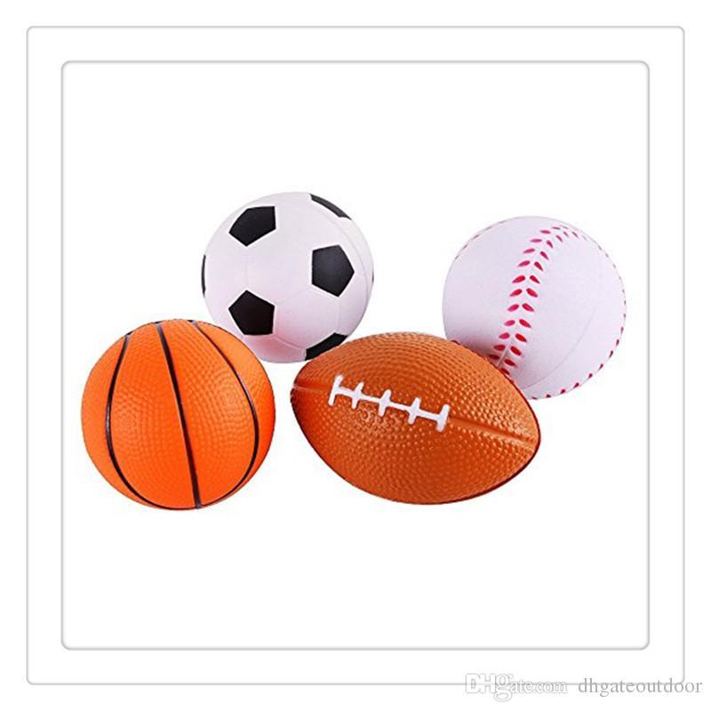 Hot Fidget Toys Sprots Balls Mini Soft PU Relaxable Balls Football Soccer Ball Basketball Baseball For Kids Foam Sports Balls