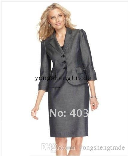 Серый костюм Женщины Рукав три четверти Зубчатый воротник куртки юбка-карандаш Tailor женщин Деловой костюм
