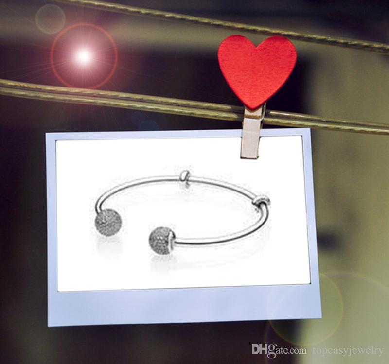 TopeasyJewelry New Bracelets sparkling open bangle two stoppers with silicone grips and end caps embellished with pave-set