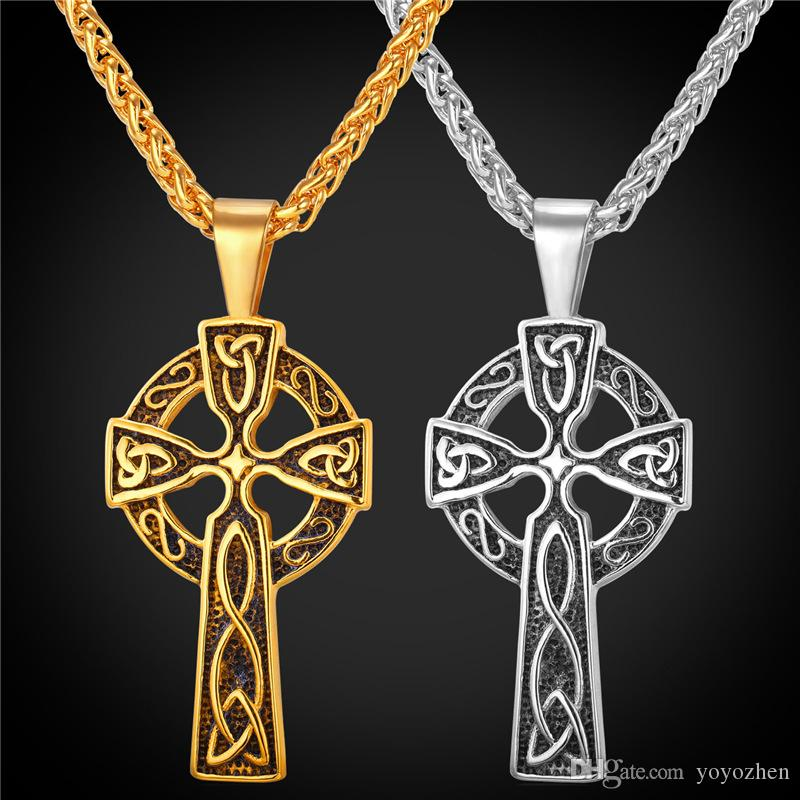 celtic silver jewellery cross medium pendant
