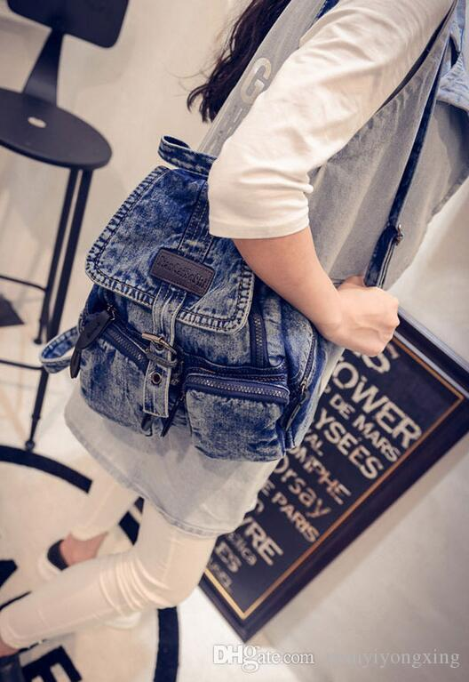 2017 Fashion Women Denim Backpacks Vintage Washing Girls School Bags Jean Shoulder Bag For Female Mochila