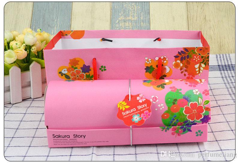 Japanese Style Portable Wind Cake Box Pink Green Packing Boxes Pound Cake Box Packing Bag Baking Bakeware Supplies ZA3245