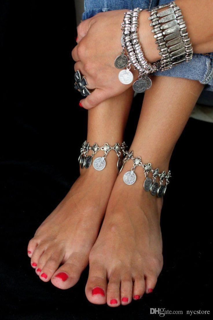 En gros Pas Cher Tribal Ethnique Pièce En Argent Tassel Gypsy Turc Anklets Bracelet Bijoux