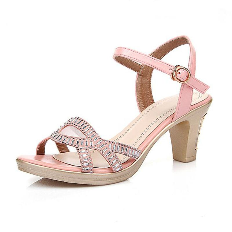 f62b1bfcde93 Fashion Women Sandal Thin High Heels Sandals Pink Ladies Summer Shoes  Gladiator Heels Open Toe Hollow Out Genuine Leather Shoes Salt Water Sandals  ...