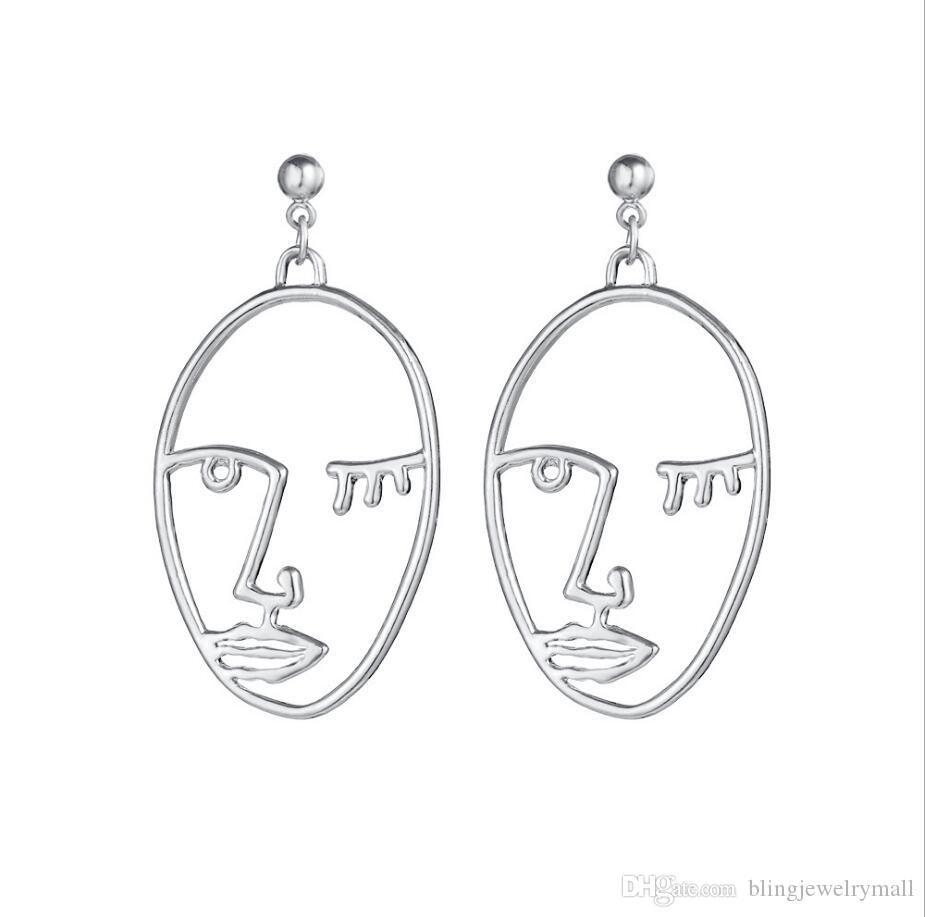 Unique Hollow Human Face Contour Earrings for Women Punk Abstract Art Metal Figure Stud Earrings Creative Ear Jewelry