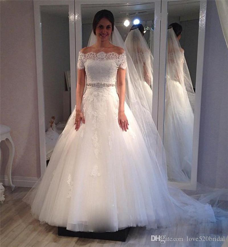 Romantic Princess Wedding Dresses With Short Sleeves 2017 Off ...