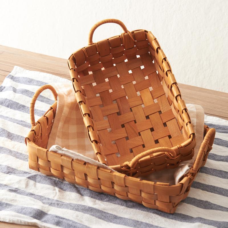2017 Japanese Handmade Wood Chips Woven Baskets Baskets