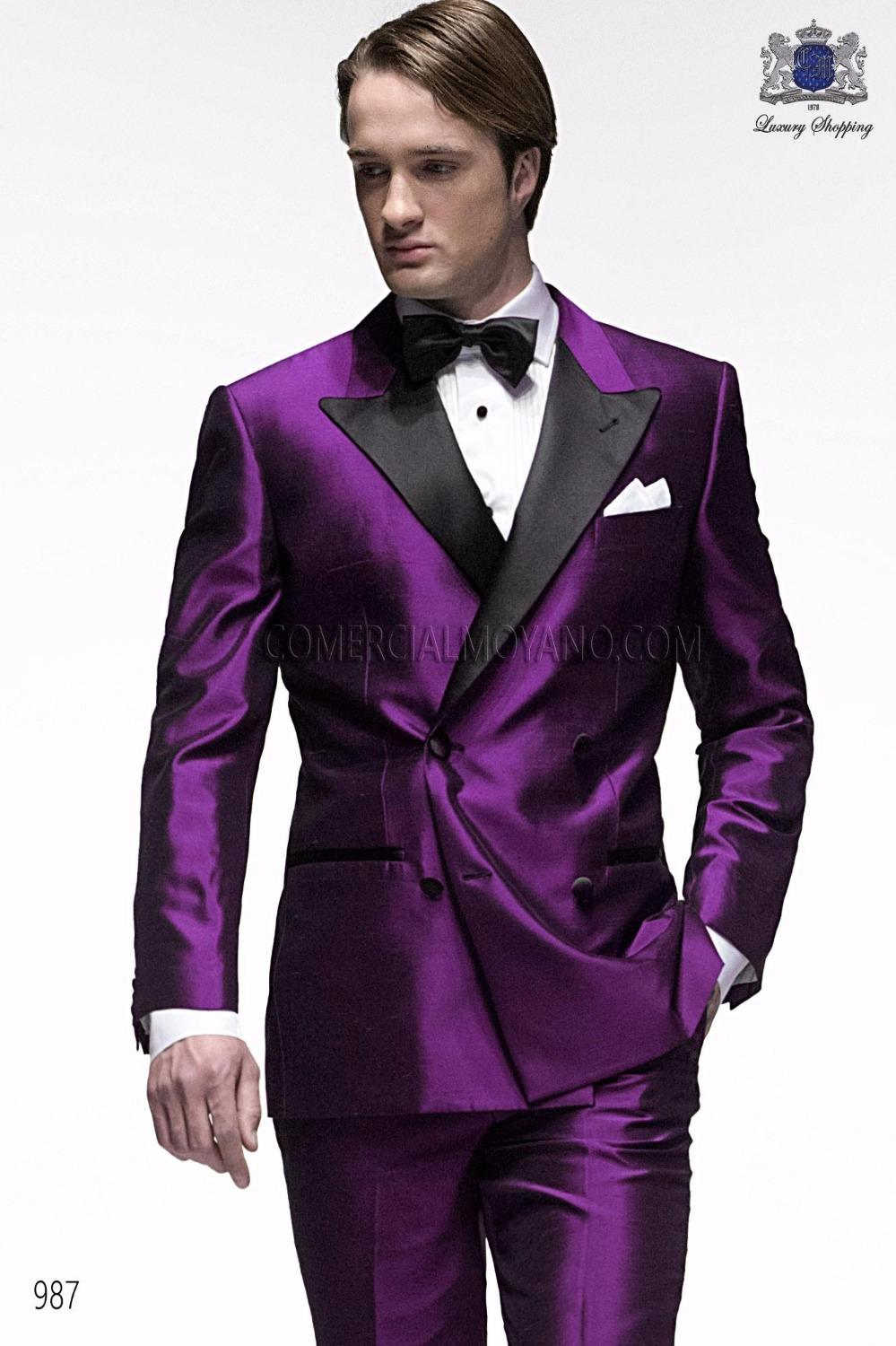 2018 Wholesale New Style One Button Purple Groom Tuxedos Groomsmen ...