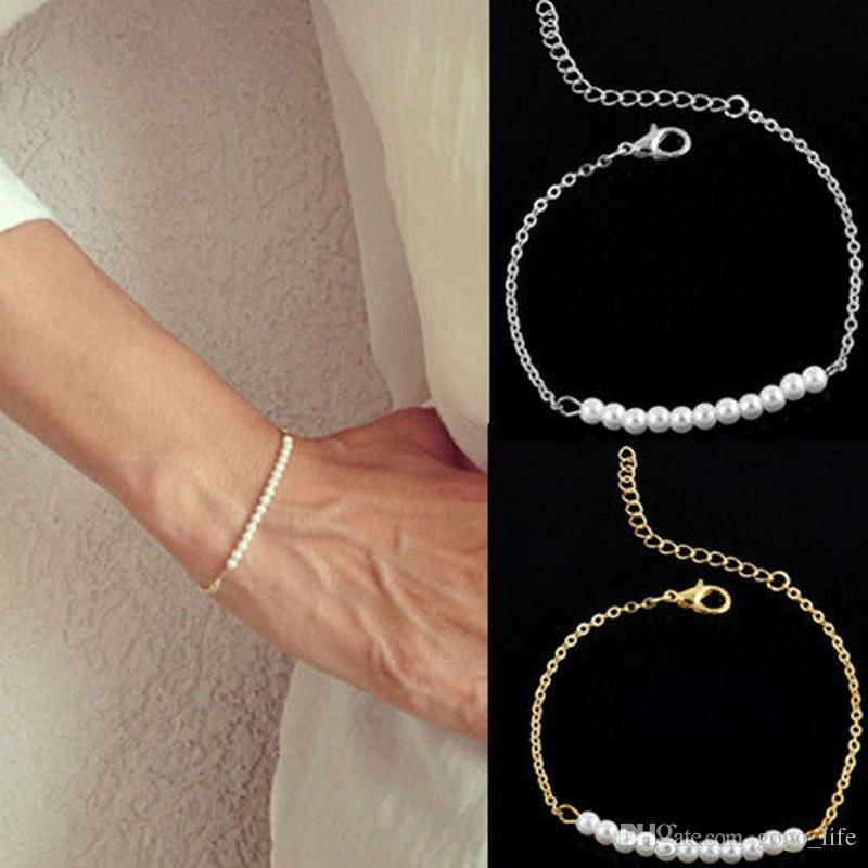 Trendy Charm Gold/Silver Imitation Pearl Chain Bracelet Jewelry Wedding Simulated Pearl Beads Bangle Female Women Elegant Gifts