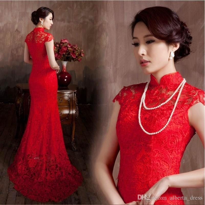 095995038f5 Lace Material Red Color Luxury Chinese Traditional Wedding Dress Qipao  Mermaid Wedding Dress 2016 Mermaid Wedding Dress Vestido De Noiva Wedding  Dresses For ...