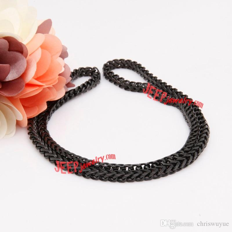 Haute qualité bijoux de fête collier noir hommes Collier en acier inoxydable élégant et à la mode Large 8mm de long 54CM - Livraison gratuite