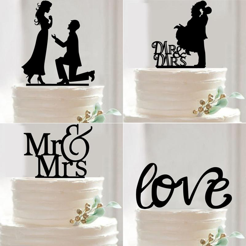2019 wholesale new mr mrs wedding cake topper acrylic black romantic bride groom wedding cake. Black Bedroom Furniture Sets. Home Design Ideas