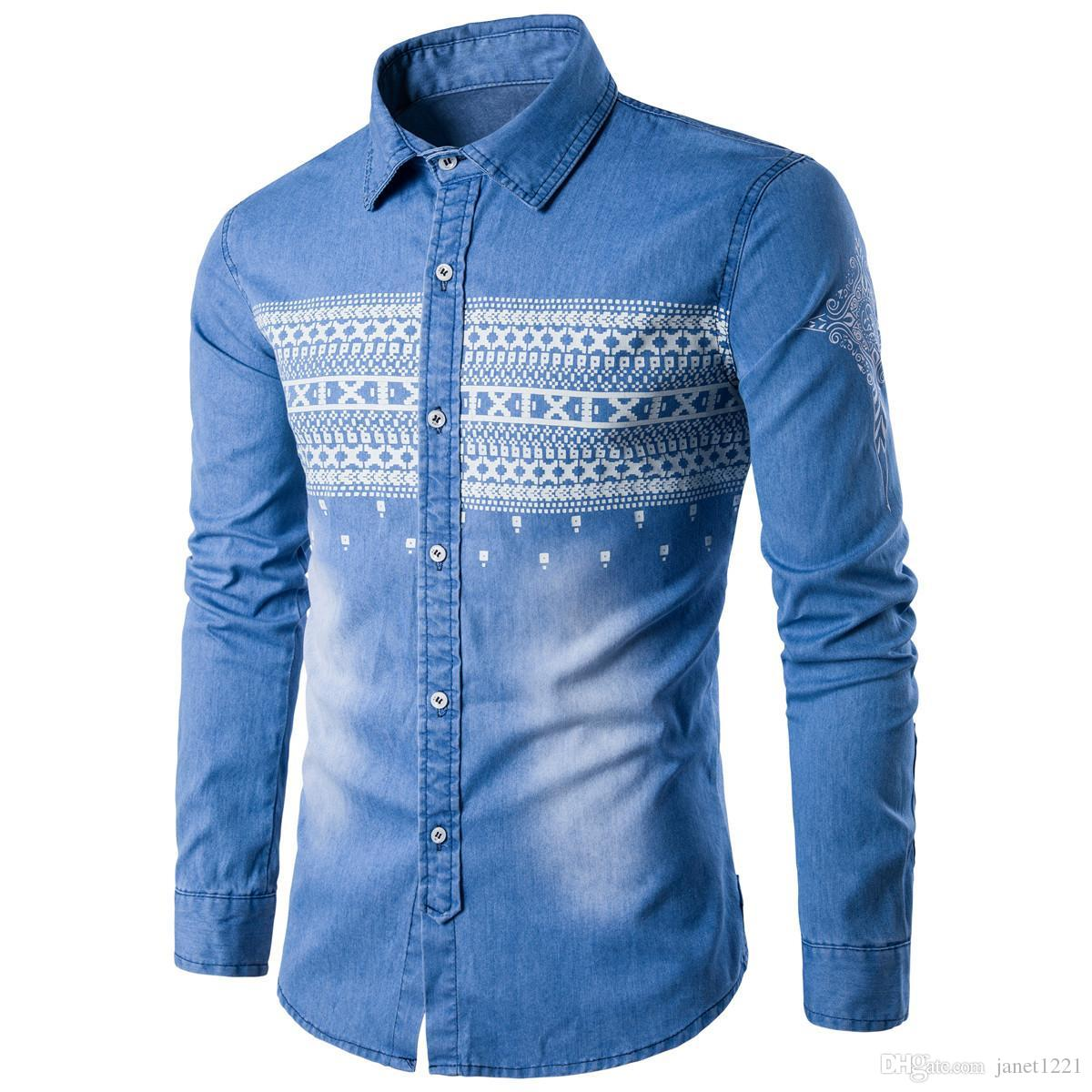 8a86bd3ee2 2019 Blue Polo Shirt Men Long Sleeve Autumn Men Jeans Casual Shirts Plus  Size Printing Personalize Men Denim Jeans Shirts T170701 From Janet1221