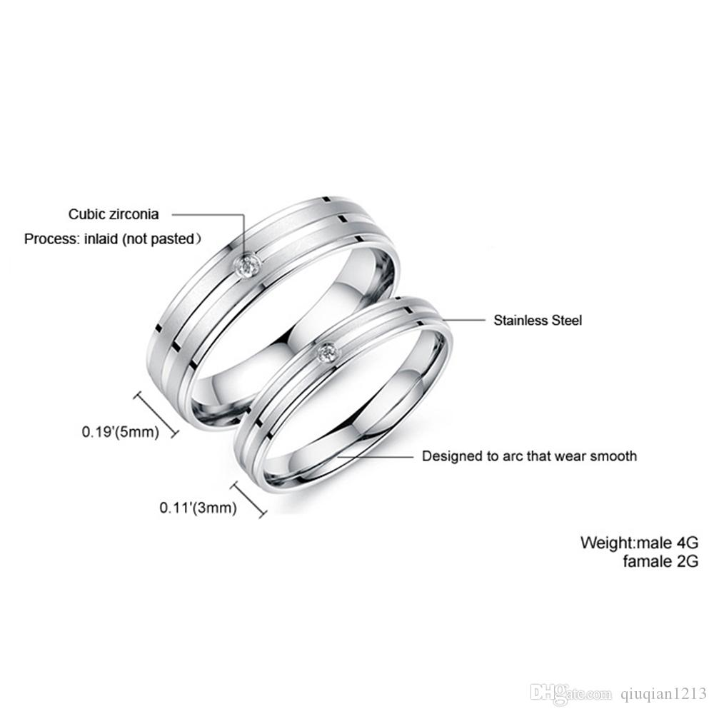 Hot Charming Couples Promise Rings Lovers Bride Groom Engagement Band CZ Stainless Steel Wedding Ring Gifts Jewelry for His Hers