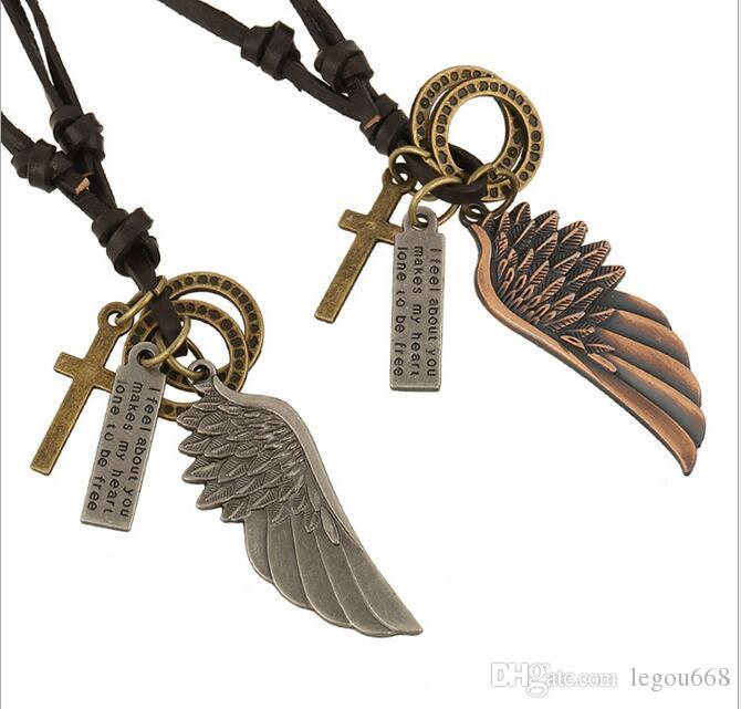 Mannen Vintage Angel Feather Eagle Wing Cross Lederen Collier Hanger Gift G540