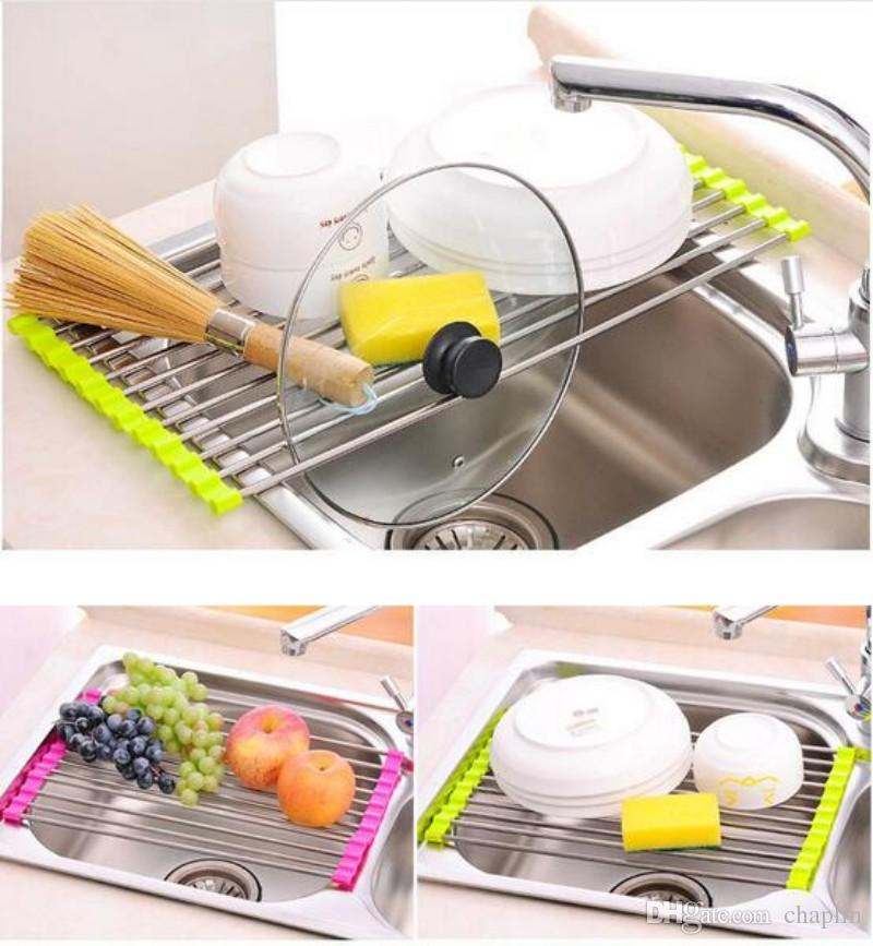 Kitchen Sink Dish Rack Drainer 37 X 23CM Stainless Steel Silicone ...