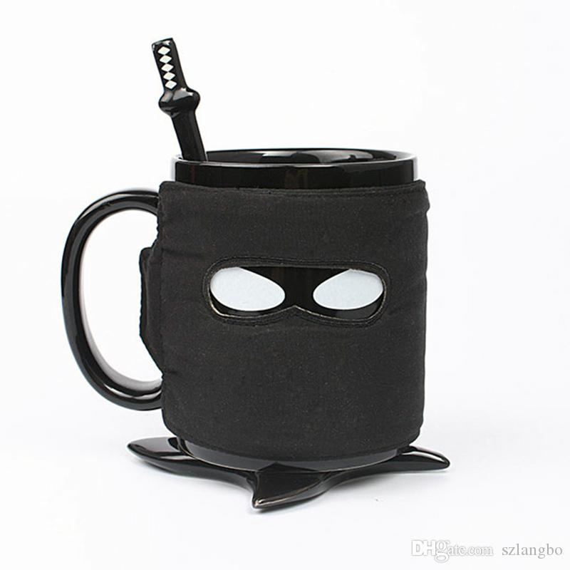 Personalized Ninja Style Ceramic Mug with Removable Adiabatic Band, with Cup Mats and Stirring Spoon Pottery Coffee Cup Office