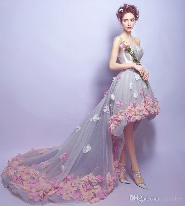 Discount Colorful Wedding Dresses Online Strapless Sweep Train Lace ...