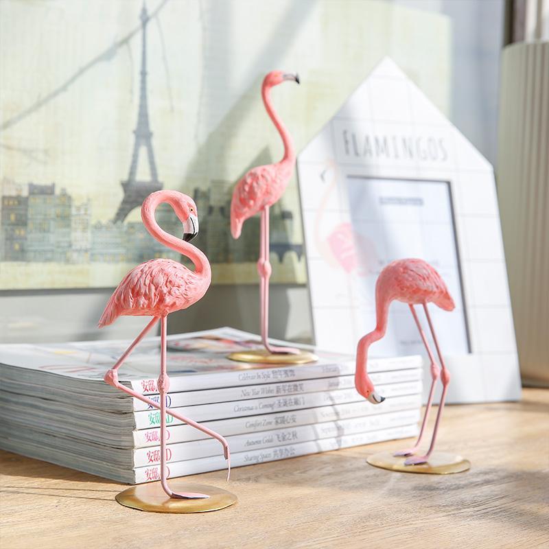 Resin Pink Flamingo Home Decor Figure For Girl Ins Hot Home Decor