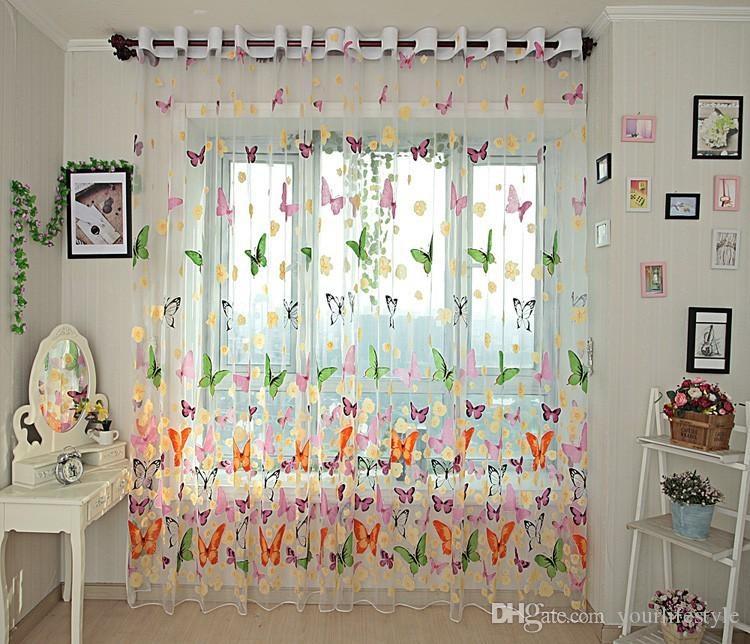 Butterfly Kitchen Curtains Tulle For Balcony Panel Screen Sheer Curtains  For Living Room Bedroom Window Embroidered Roman Curtain Drapes Faux Silk  Curtains ...